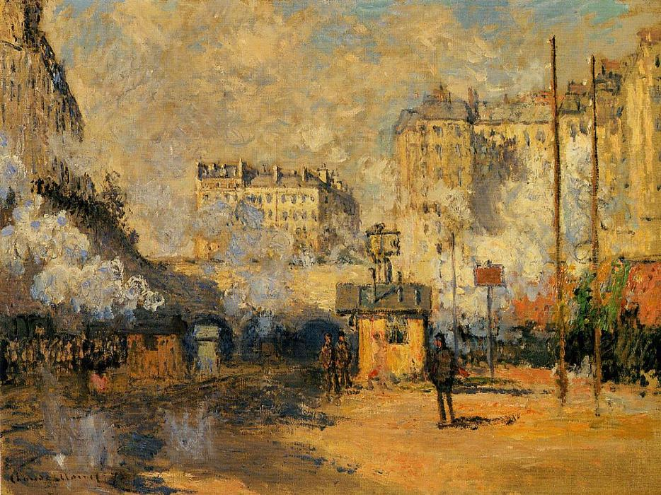 famous painting Exterior of Saint-Lazare Station, Sunlight Effect of Claude Monet