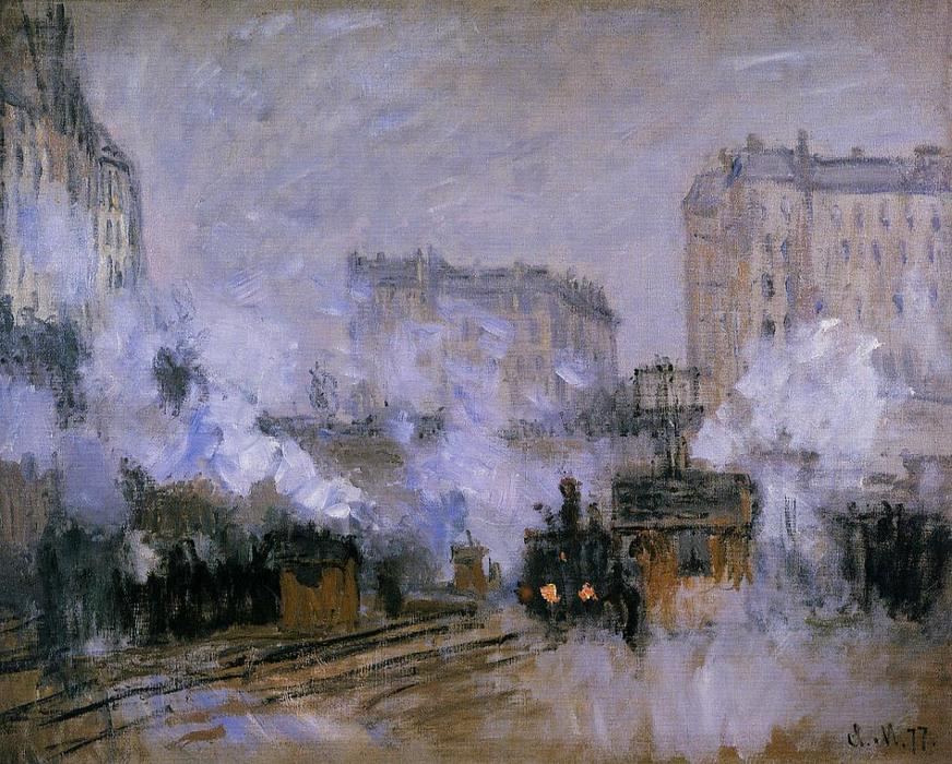 famous painting Exterior of the Saint-Lazare Station, Arrival of a Train of Claude Monet