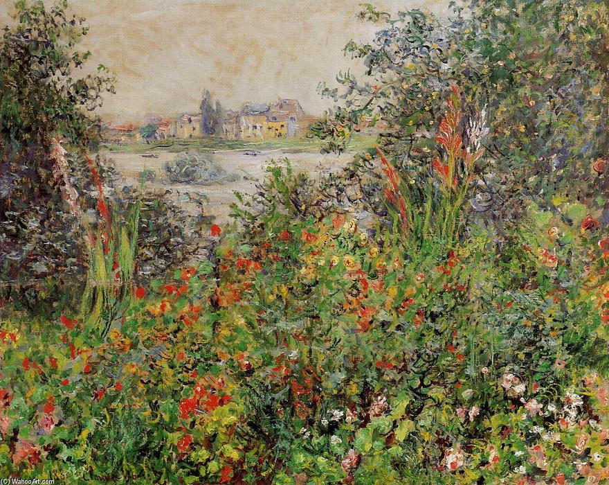 famous painting Flowers at Vetheuil of Claude Monet