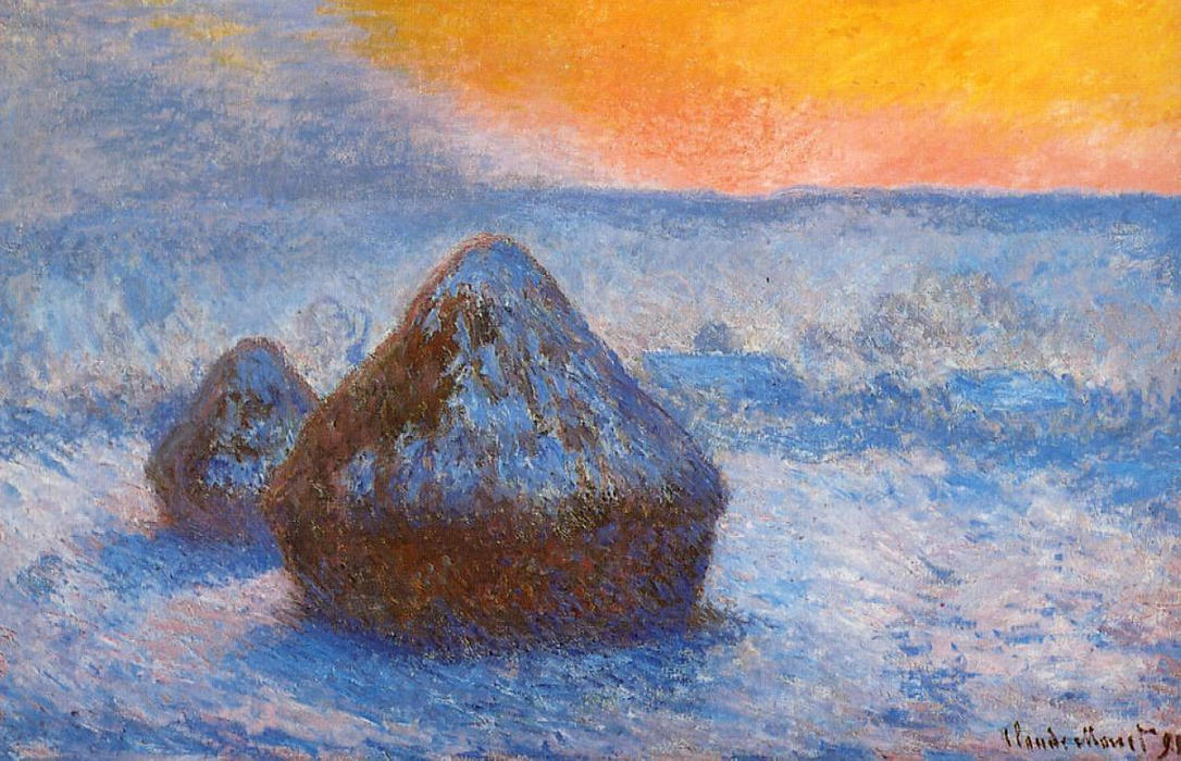 famous painting Grainstacks at Sunset, Snow Effect of Claude Monet