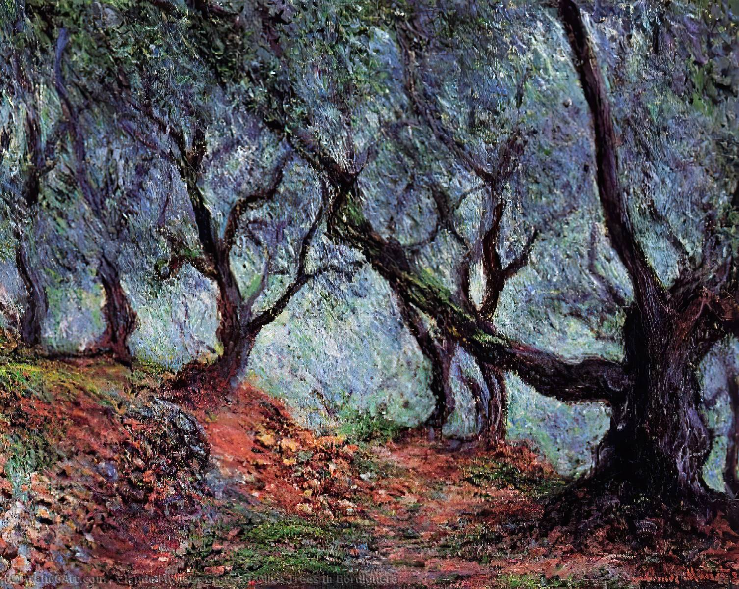 famous painting Grove of Olive Trees in Bordighera of Claude Monet