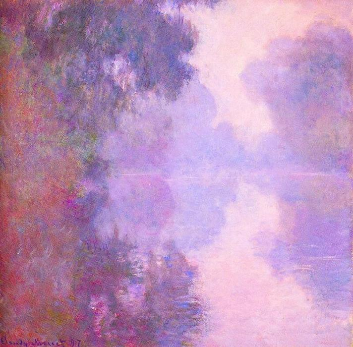 famous painting Misty Morning on the Seine of Claude Monet
