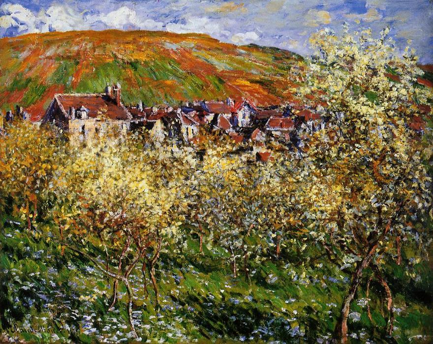 famous painting Plum Trees in Blossom at Vetheuil of Claude Monet