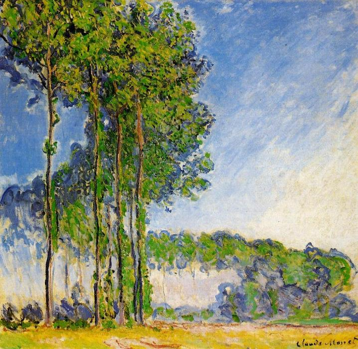 famous painting Poplars, View from the Marsh of Claude Monet