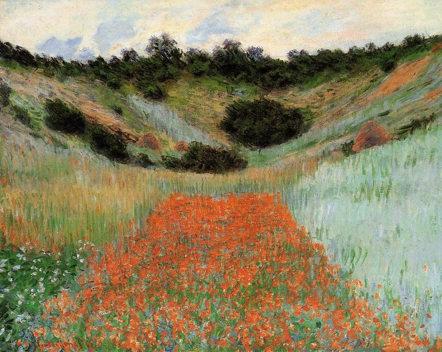 famous painting Poppy Field in a Hollow near Giverny of Claude Monet