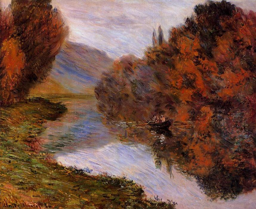 famous painting Rowboat on the Seine at Jeufosse of Claude Monet