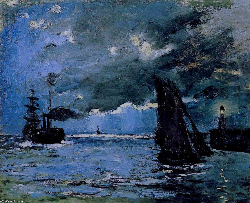 famous painting Seascape, Night Effect of Claude Monet