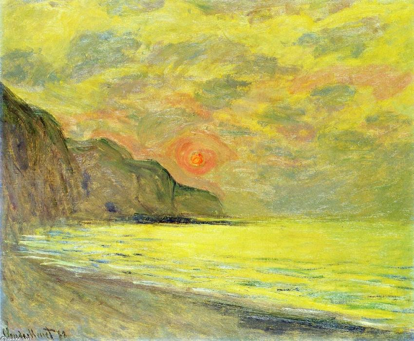 famous painting Sunset, Foggy Weather, Pourville of Claude Monet