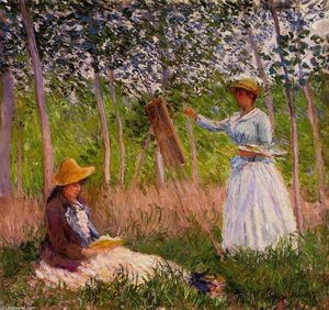Claude Monet - Suzanne Reading and Blanche Painting by the Marsh at Giverny