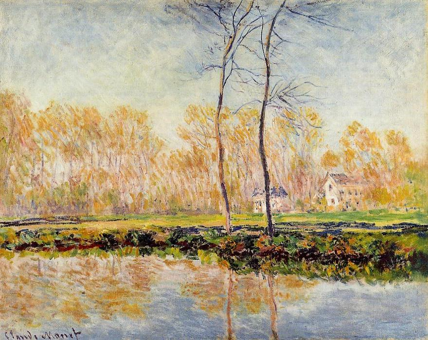 famous painting The Banks of the River Epte at Giverny of Claude Monet