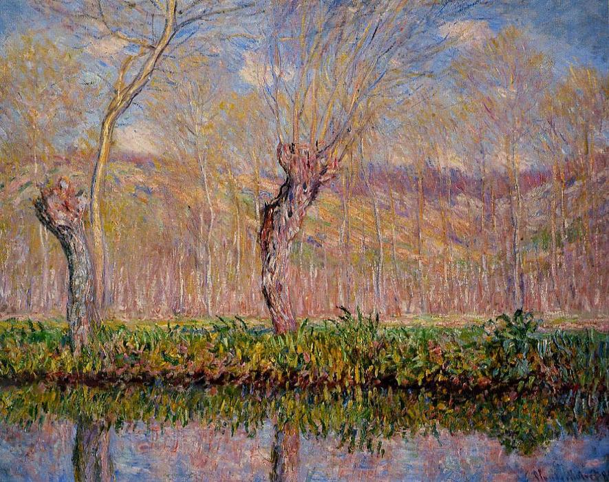 famous painting The Banks of the River Epte in Springtime of Claude Monet
