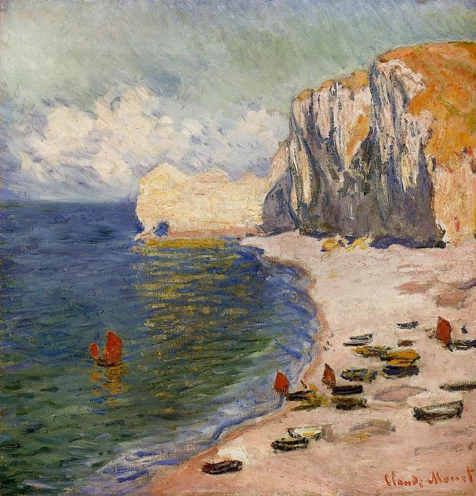 famous painting The Beach and the Falaise d'Amont of Claude Monet