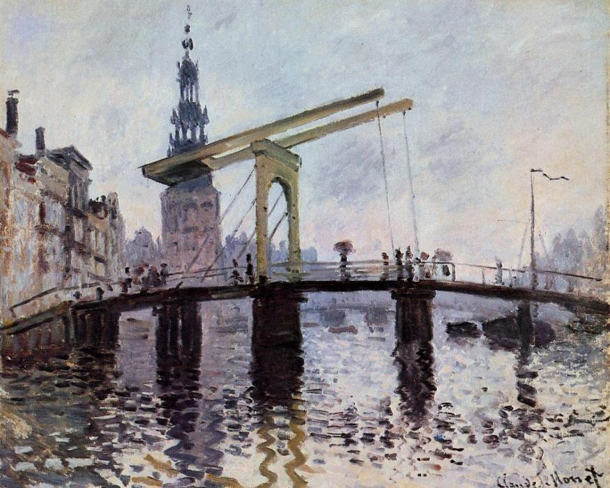 famous painting The Bridge, Amsterdam of Claude Monet