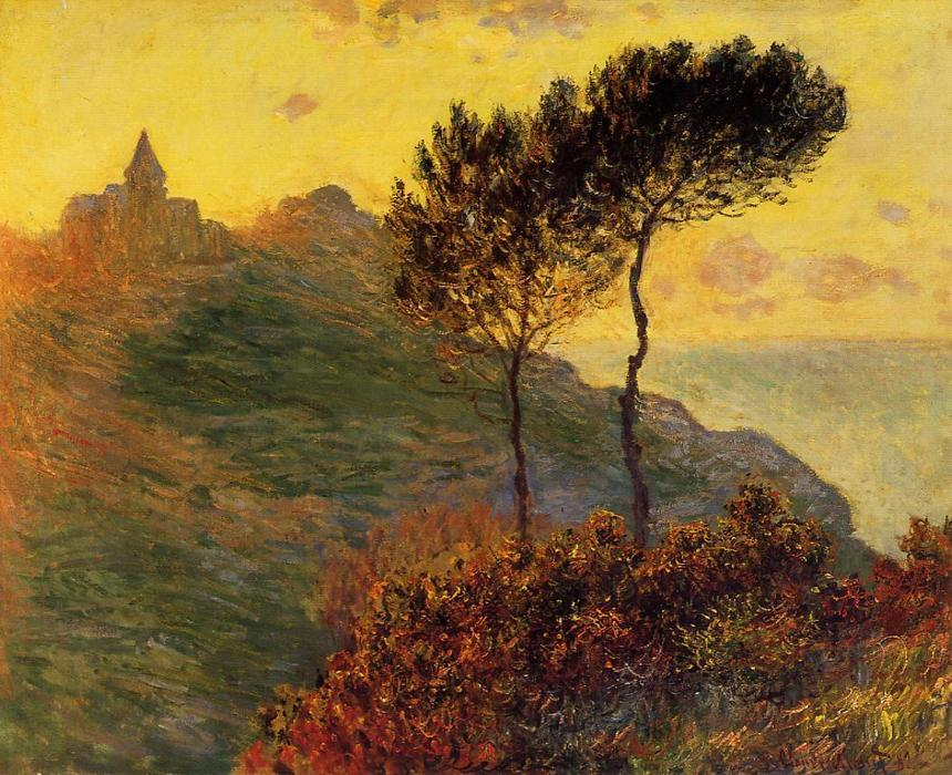 famous painting The Church at Varengeville, against the Sunset of Claude Monet