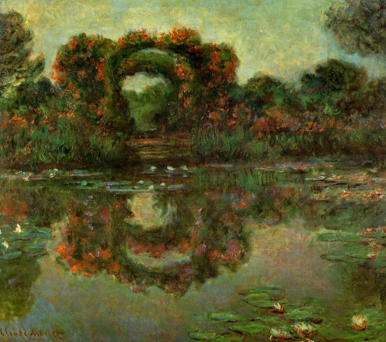 famous painting The Flowered Arches at Giverny of Claude Monet