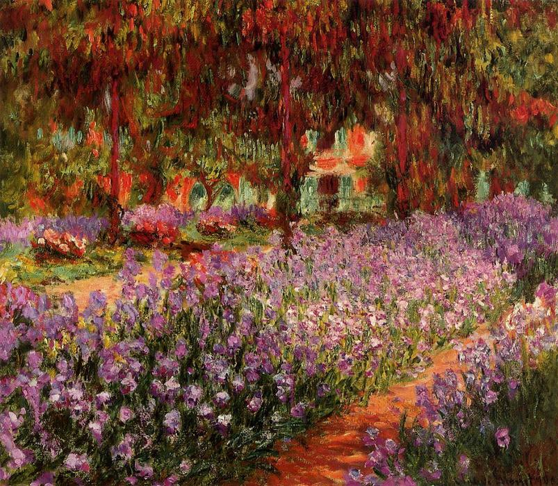 famous painting The Garden (aka Irises) of Claude Monet
