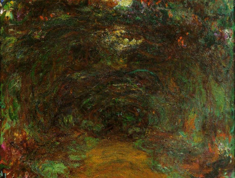 famous painting The Path under the Rose Trellises, Giverny 1 of Claude Monet
