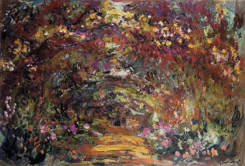 famous painting The Path under the Rose Trellises, Giverny of Claude Monet