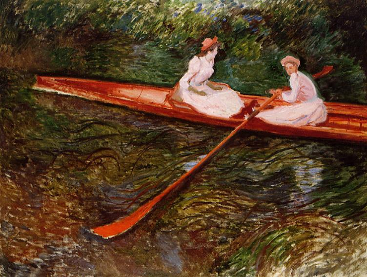 famous painting The Pink Skiff of Claude Monet