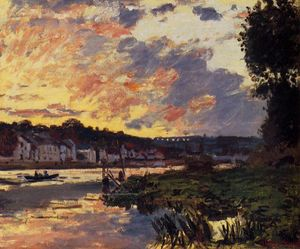 Claude Monet - The Seine at Bougeval, Evening (aka Bougival)