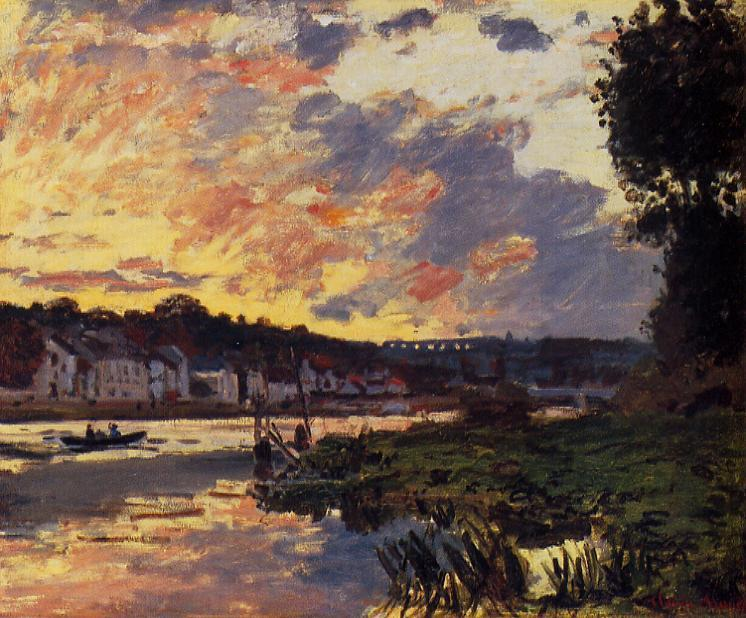 famous painting The Seine at Bougeval, Evening (aka Bougival) of Claude Monet