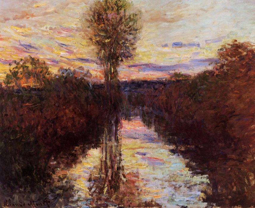 famous painting The Small Arm of the Seine at Mosseaux, Evening of Claude Monet