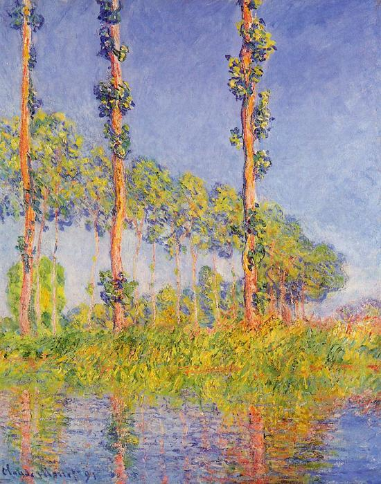famous painting Three Poplar Trees, Autumn Effect of Claude Monet