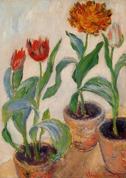famous painting Three Pots of Tulips of Claude Monet