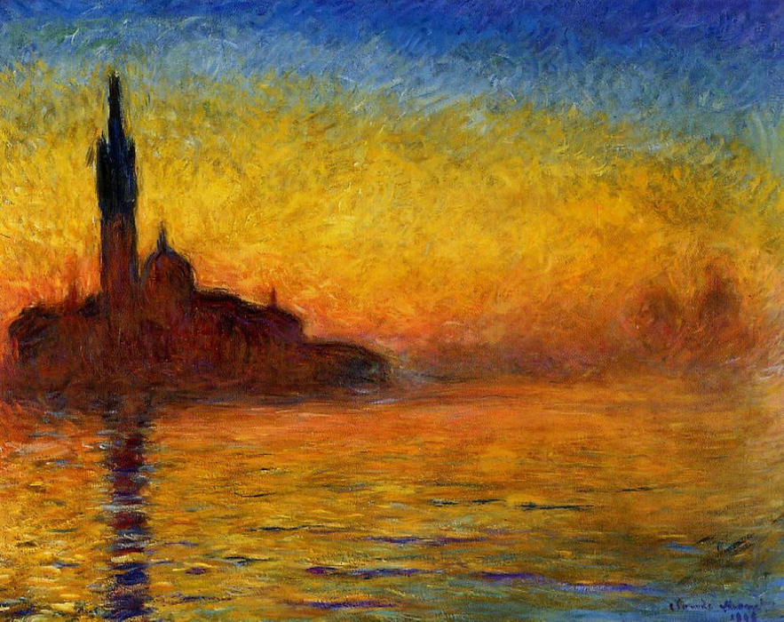 famous painting Twilight, Venice of Claude Monet