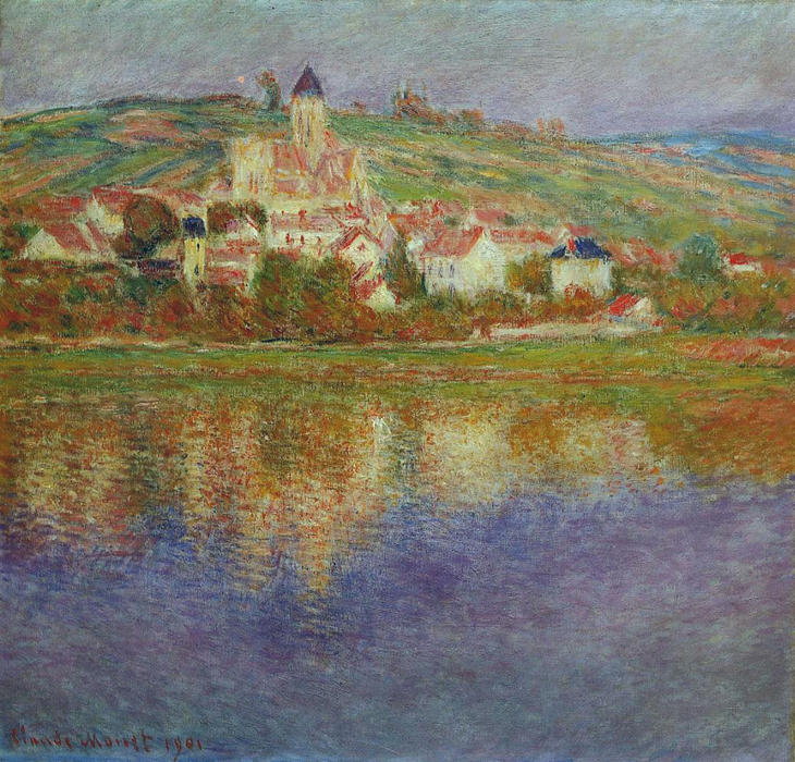 famous painting Vetheuil, Pink Effect of Claude Monet