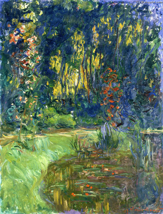 famous painting Water Lily Pond at Giverny of Claude Monet