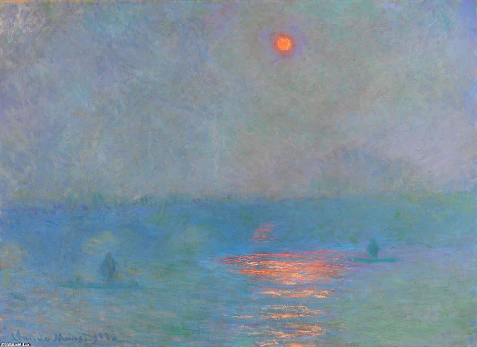famous painting Waterloo Bridge, Sunlight in the Fog of Claude Monet