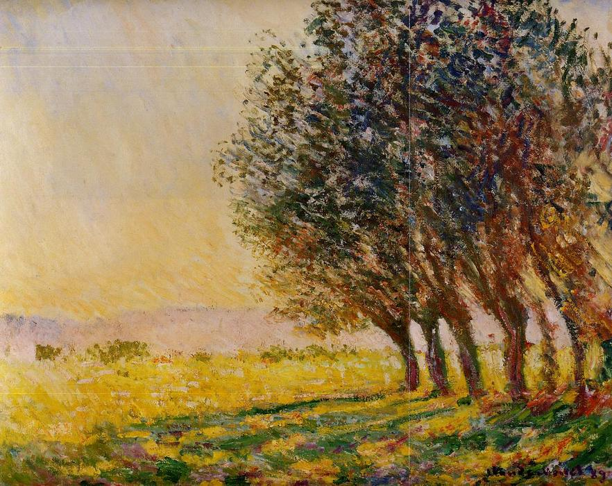 famous painting Willows at Sunset of Claude Monet