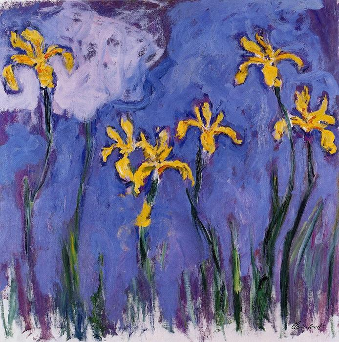 famous painting Yellow Irises with Pink Cloud of Claude Monet