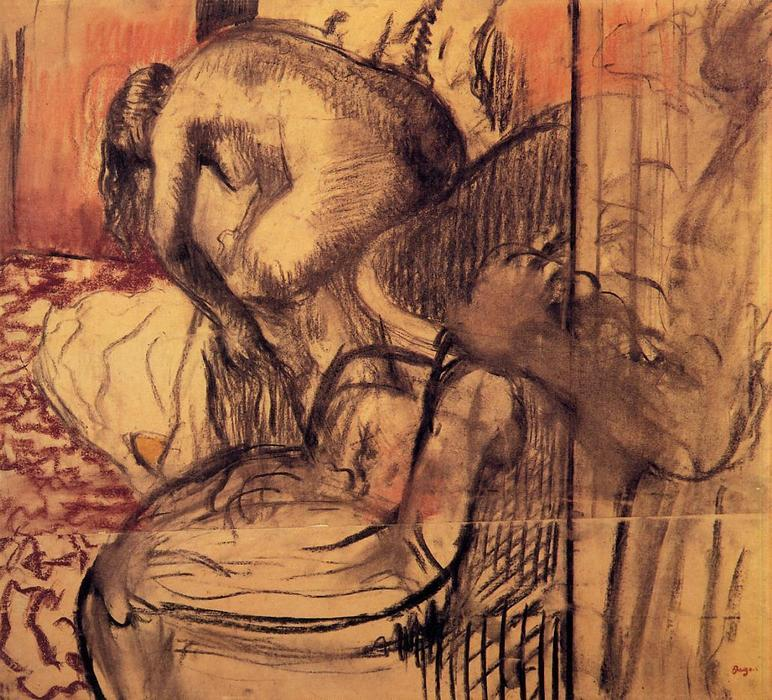 famous painting After the Bath (11) of Edgar Degas