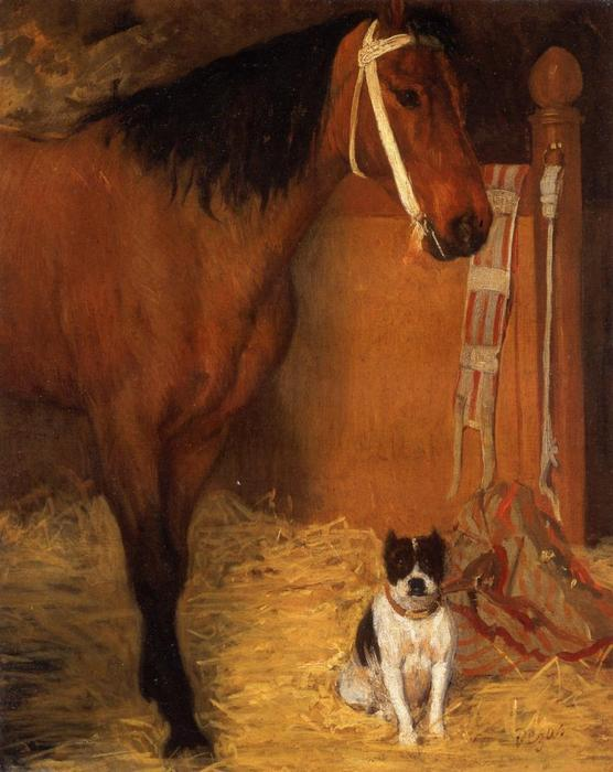 famous painting At the Stables, Horse and Dog of Edgar Degas