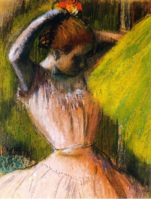 famous painting Ballet Corps Member Fixing Her Hair of Edgar Degas