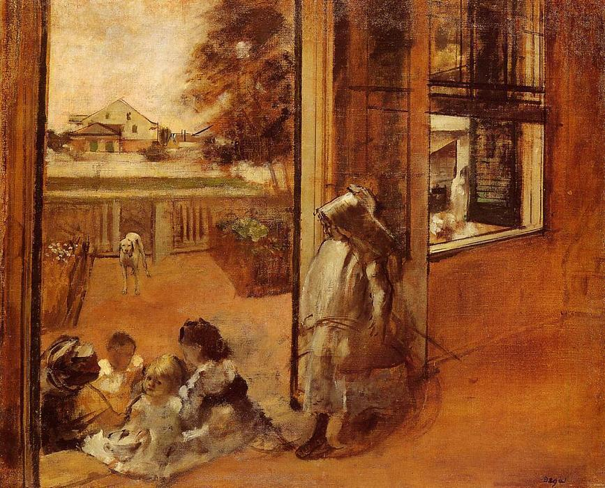famous painting Children on a Doorstep of Edgar Degas