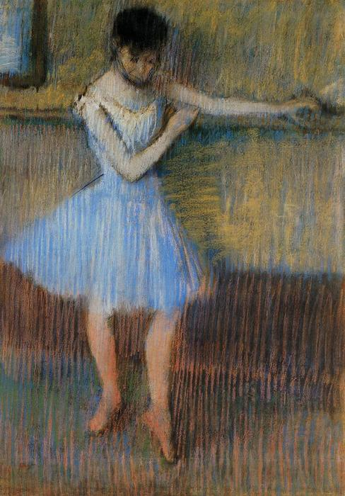 famous painting Dancer in Blue at the Barre of Edgar Degas