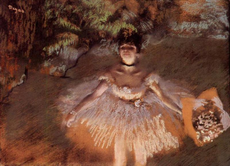 famous painting Dancer on Stage with a Bouquet of Edgar Degas