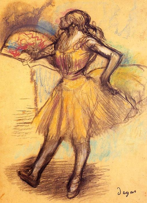 famous painting Dancer with a Fan (study) of Edgar Degas