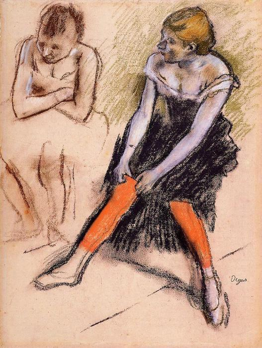 famous painting Dancer with Red Stockings of Edgar Degas