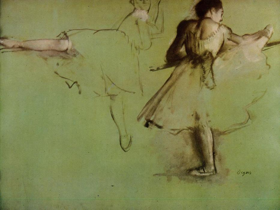 famous painting Dancers at the Barre (study) of Edgar Degas