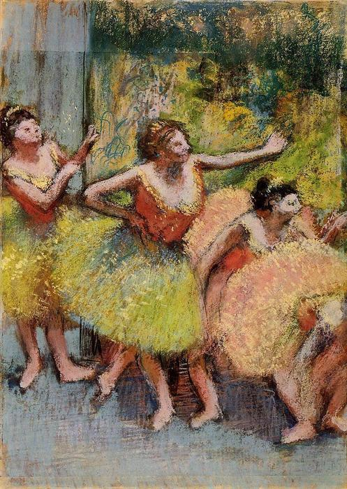 famous painting Dancers in Green and Yellow of Edgar Degas