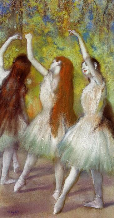 famous painting Dancers in Green of Edgar Degas