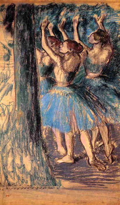 famous painting Group of Dancers, Tree Decor of Edgar Degas