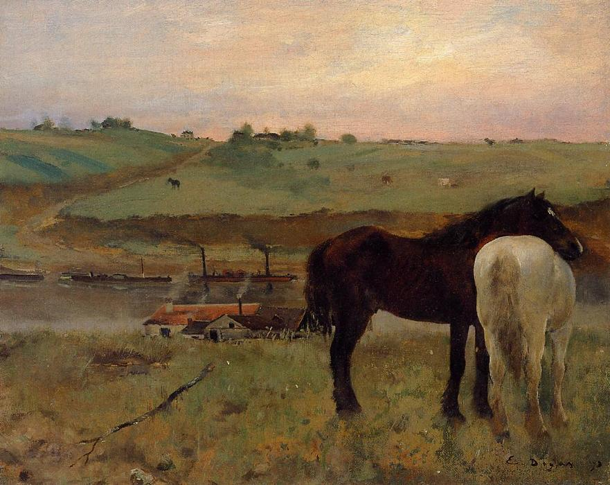 Buy Museum Art Reproductions Impressionism | Horses in a Meadow by Edgar Degas | TopImpressionists.com