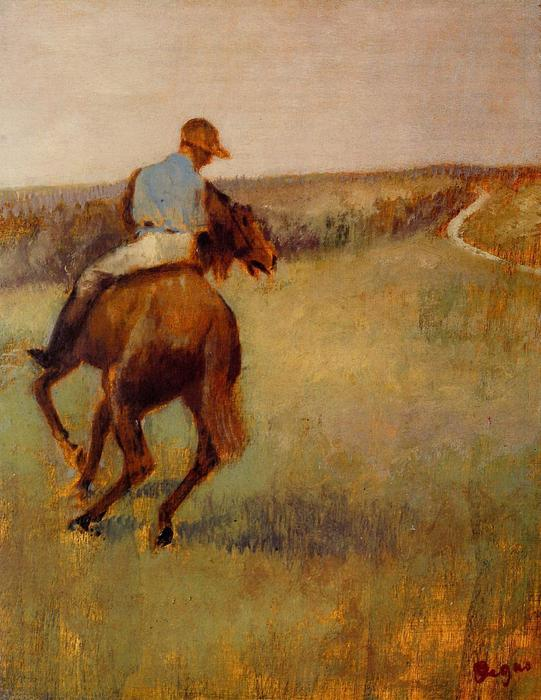 famous painting Jockey in Blue on a Chestnut Horse of Edgar Degas
