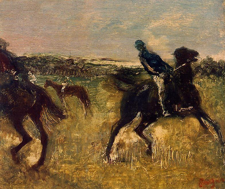 famous painting Jockeys 1 of Edgar Degas