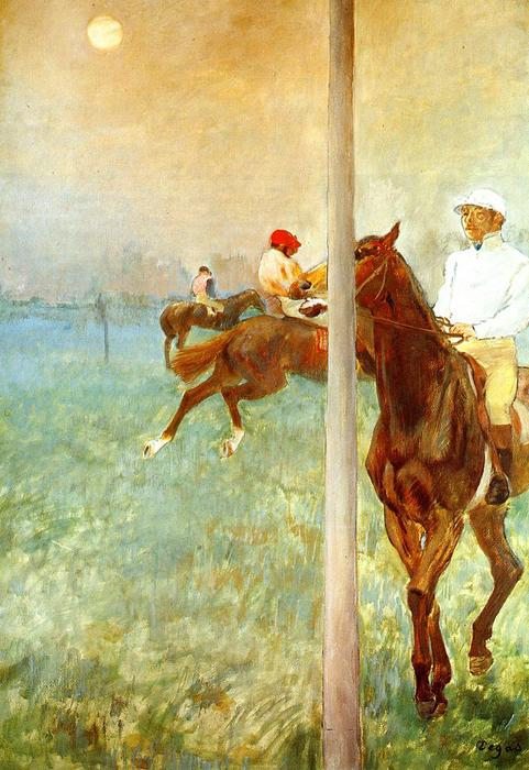 famous painting Jockeys before the Start with Flagpoll of Edgar Degas